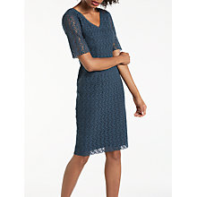 Buy Boden Carin Floral Lace V Neck Knee Length Dress, Ink Pot Online at johnlewis.com