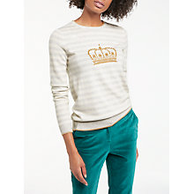Buy Boden Maisie Crown Embroidered Stripe Jumper, Neutral/Gold Online at johnlewis.com