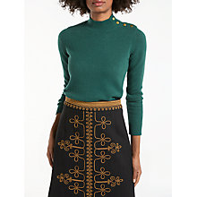 Buy Boden Tessa Button Neck Jumper, Forest Green Online at johnlewis.com