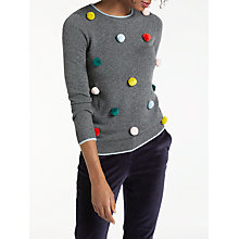 Buy Boden Pom Pom Christmas Jumper, Charcoal Melange/Multi Online at johnlewis.com