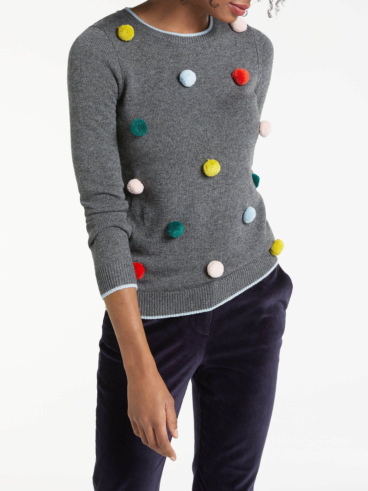 Boden Pom Pom Christmas Jumper, Charcoal MelangeMulti at