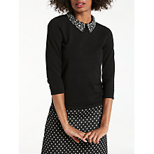 Buy Boden Kimberley Statement Collar Top, Black/Pewter Online at johnlewis.com
