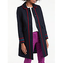 Buy Boden Edith Trim Detail Coat, Utility Blue/Postbox Red Online at johnlewis.com
