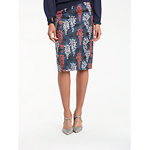 Buy Boden Floral Print Richmond Party Pencil Skirt, Ink Pot/Wisteria Online at johnlewis.com