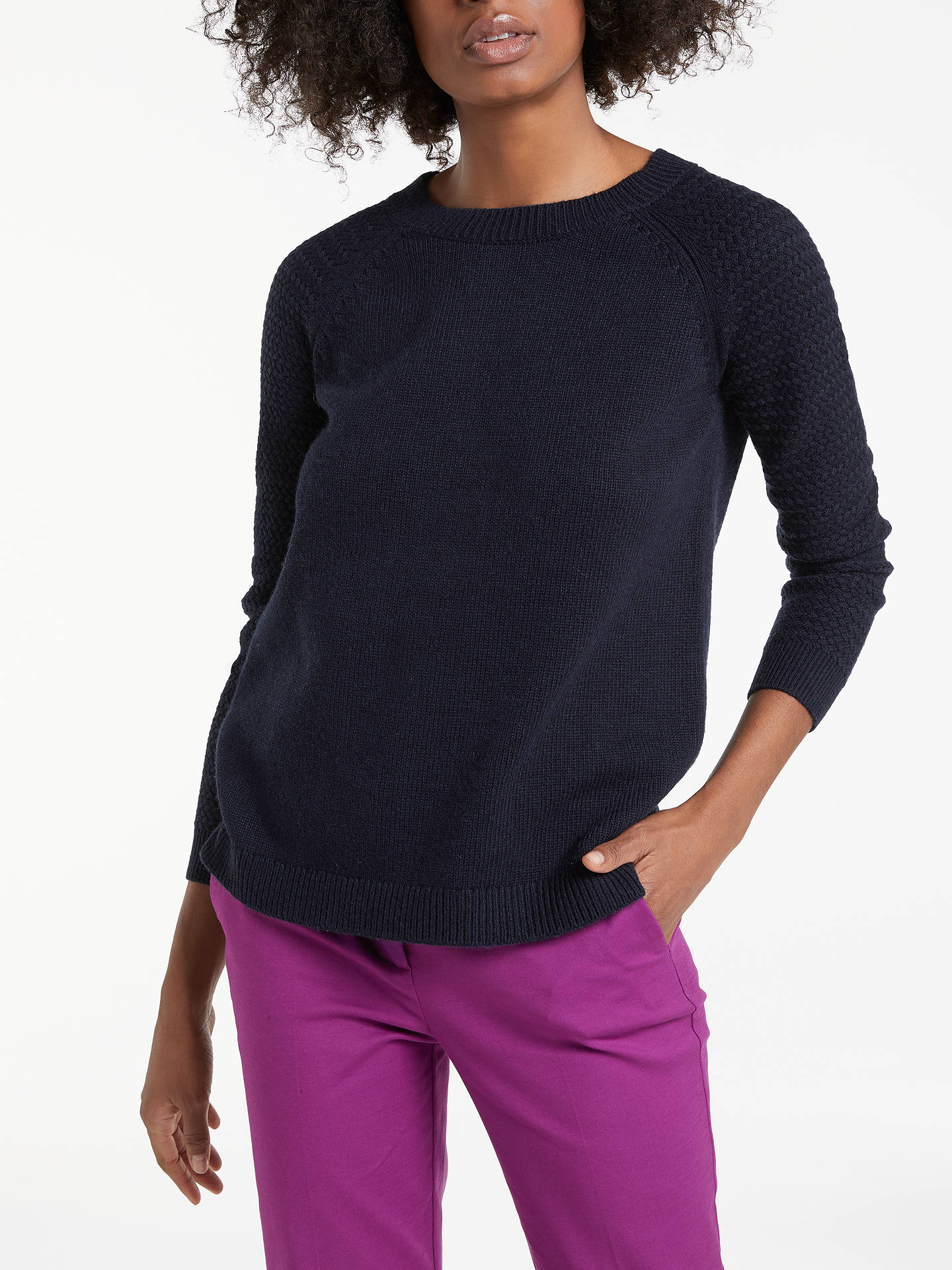 BuyBoden Avery Button Back Jumper, Navy, XS Online at johnlewis.com