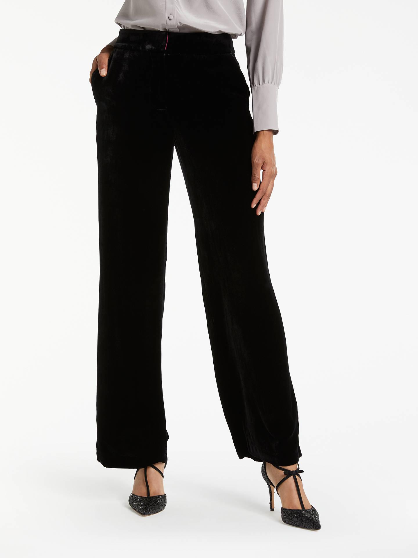 59991af498297 Buy Boden Velvet Wide Leg Trousers, Black, 8 Online at johnlewis.com ...