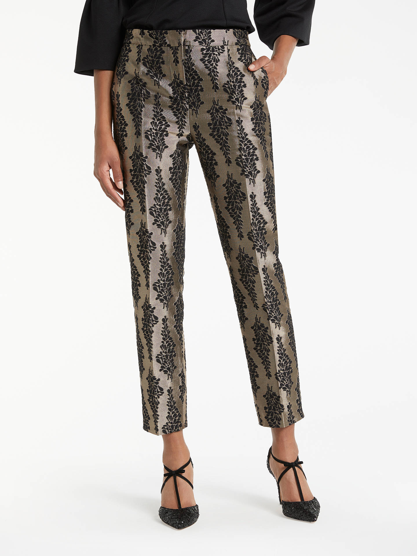 BuyBoden Jacquard Party Trousers, Black/Pewter, 8 Online at johnlewis.com