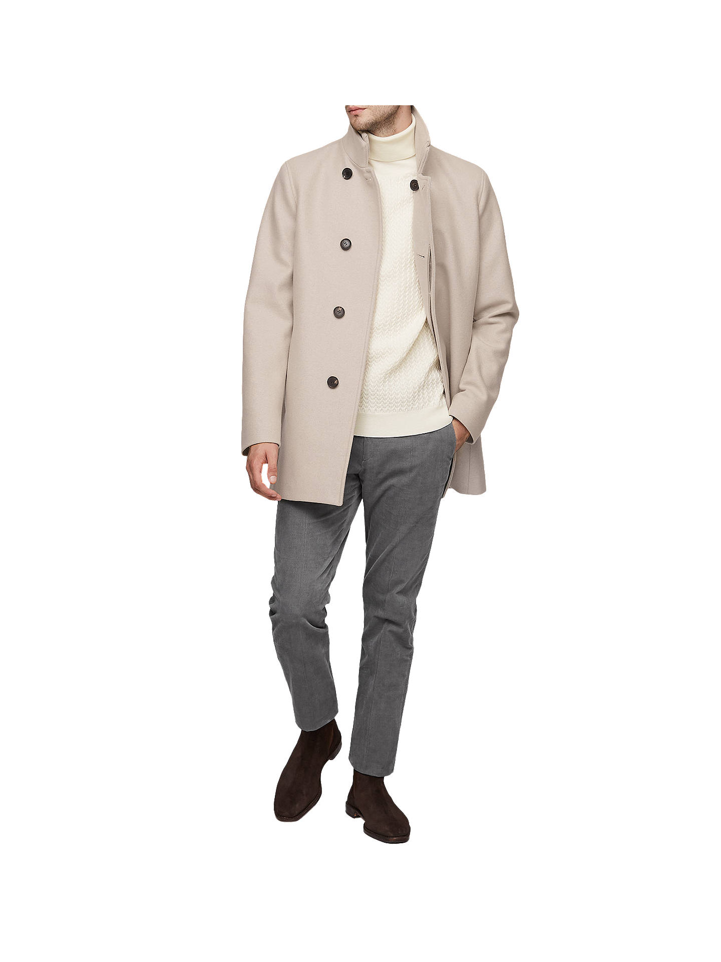 BuyReiss Curraghmore Funnel Collar Jacket, Oatmeal, XS Online at johnlewis.com