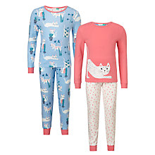 Buy John Lewis Children's Cat Print Pyjamas, Pack of 2, Multi Online at johnlewis.com