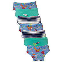 Buy John Lewis Boys' Deep Sea Diver Briefs, Pack of 7, Green/Blue Online at johnlewis.com