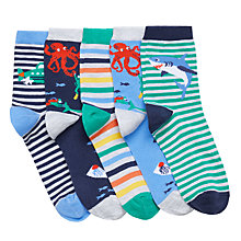 Buy John Lewis Boys' Deep Sea Diver Socks, Pack of 5, Multi Online at johnlewis.com