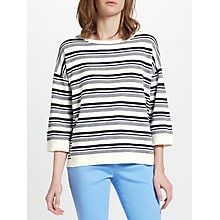 Buy Collection WEEKEND by John Lewis Pique Stripe Jumper, White/Navy Online at johnlewis.com