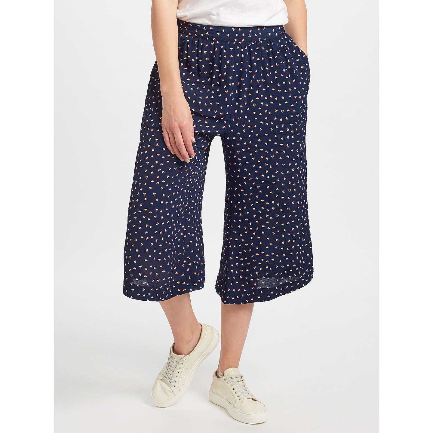 BuyCollection WEEKEND by John Lewis Dot Print Culottes, Navy, 8 Online at johnlewis.com