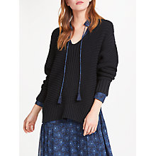 Buy AND/OR Libby Deep V Neck Cotton Jumper, Black Online at johnlewis.com