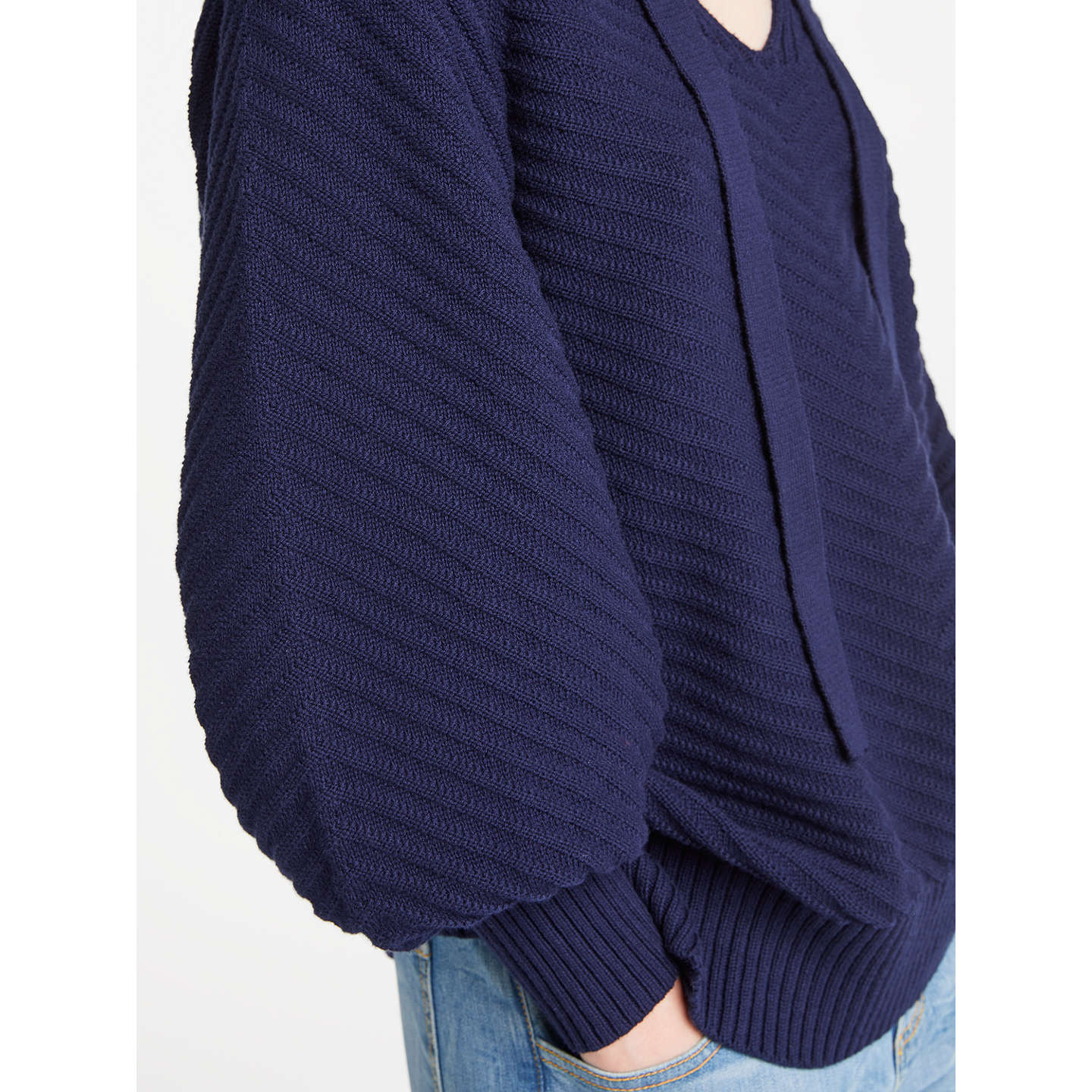 BuyAND/OR Lexy Chevron Jumper, Navy, XS Online at johnlewis.com