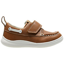Buy Clarks Children's Cloud Snap First Shoes, Tan Online at johnlewis.com