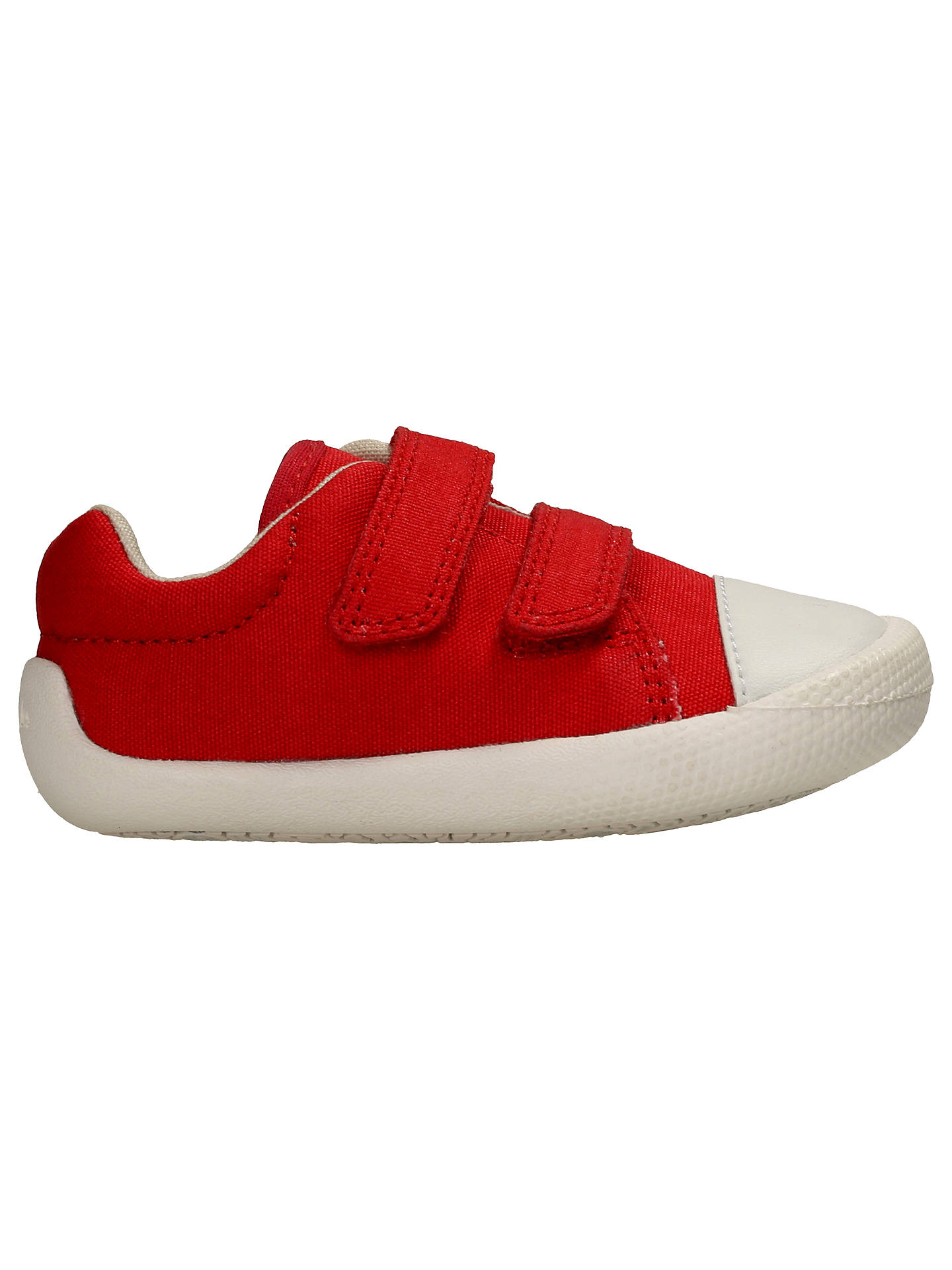 BuyClarks Tiny Pebble Canvas Pre-Walker Shoes, Red, 3F Jnr Online at johnlewis.com