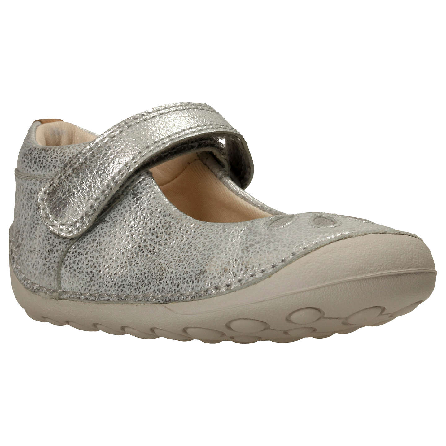 Clarks Children s Tiny Eden Pre Walker Shoes Silver at John Lewis