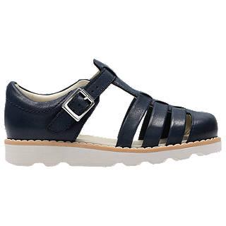 Clarks Children's Crown Stem Leather Sandals, Navy