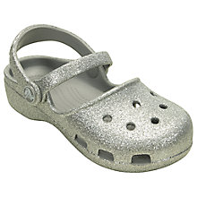 Buy Crocs Children's Karin Sparkle Clogs, Silver Online at johnlewis.com