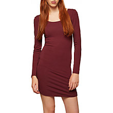 Buy Miss Selfridge Long Sleeve Cotton Blend Dress, Burgundy Online at johnlewis.com