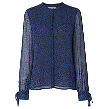 Buy L.K. Bennett Ottie Print Ruffle Blouse, Blue Animal Online at johnlewis.com