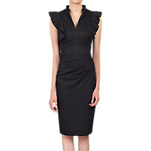 Buy Jolie Moi Ruffle Detail V Neck Knee Length Occasion Dress, Black Online at johnlewis.com