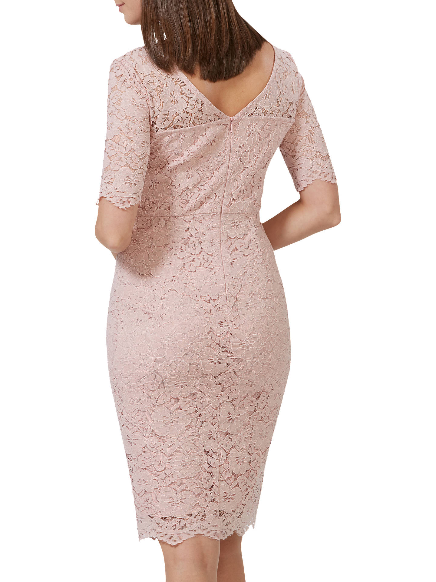 BuySugarhill Brighton Devon Fitted Lace Dress, Dusky Pink, 8 Online at johnlewis.com
