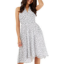 Buy Closet Spotted High Neck Dress, White/Black Online at johnlewis.com