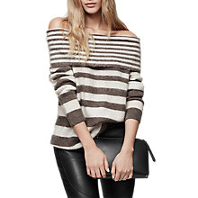 Buy Reiss Belle Brushed Stripe Jumper, Light Grey Online at johnlewis.com