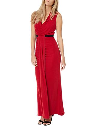 Damsel in a Dress Cowl Neck Maxi Dress, Red
