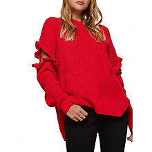 Buy Miss Selfridge Frill Elbow Jumper, Red Online at johnlewis.com
