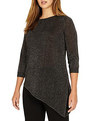 Studio 8 Adele Asymmetric Sheer Jumper, Silver