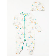 Buy John Lewis Baby Bear GOTS Organic Cotton Sleepsuit and Hat, Cream Online at johnlewis.com