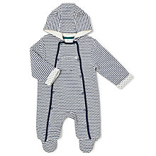 Buy John Lewis Baby Wadded Stripe All-in-One, Navy Online at johnlewis.com