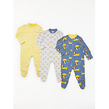 Buy John Lewis Baby Lion GOTS Organic Cotton Sleepsuit, Pack of 3, Multi Online at johnlewis.com
