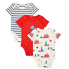 Buy John Lewis Baby GOTS Organic Cotton Short Sleeve London Bodysuits, Pack of 3, Red/Blue Online at johnlewis.com