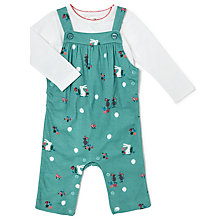 Buy John Lewis Baby Bunny and Mouse Print Jersey Dungaree Set, Green Online at johnlewis.com