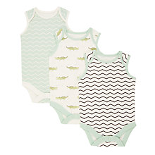 Buy John Lewis Baby GOTS Organic Cotton Short Sleeve Print Bodysuits, Pack of 3, Green/Multi Online at johnlewis.com