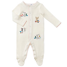 Buy John Lewis Baby Embroidered Animal Sleepsuit, White Online at johnlewis.com