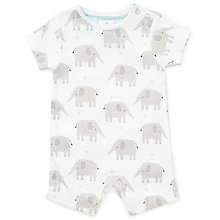 Buy John Lewis Baby GOTS Organic Cotton Elephant Romper, White Online at johnlewis.com