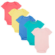 Buy John Lewis Baby GOTS Organic Cotton Short Sleeve Pointelle Bodysuits, Pack of 5, Multi Online at johnlewis.com