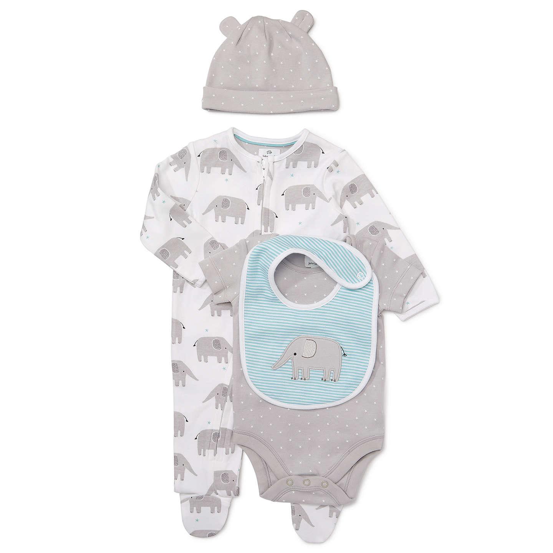 John Lewis Baby Elephant Sleepsuit Bodysuit Bib and Hat Set Grey
