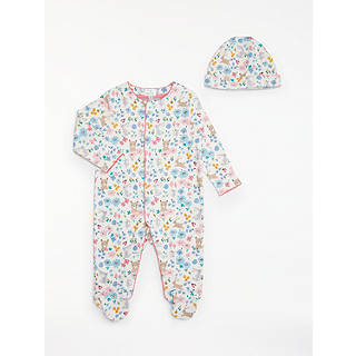 John lewis easter toys gifts john lewis john lewis baby gots organic cotton animals flowers sleepsuit and hat set multi negle Image collections