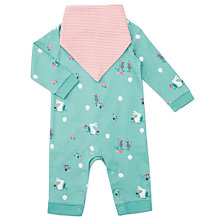 Buy John Lewis Baby Bunny & Mouse Romper with Bib, Blue Online at johnlewis.com
