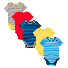 Buy John Lewis Baby GOTS Organic Cotton Short Sleeve Bodysuits, Pack of 5, Yellow/Multi Online at johnlewis.com