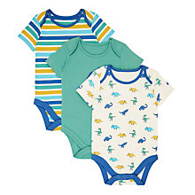 Buy John Lewis Baby GOTS Organic Cotton Short Sleeve Dinosaur Bodysuits, Pack of 3, Green Online at johnlewis.com