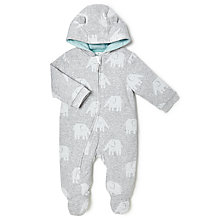 Buy John Lewis Baby Wadded Elephant All-in-One, Grey Online at johnlewis.com