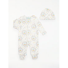 Buy John Lewis Baby Abstract Lion GOTS Organic Sleepsuit And Hat Set, White/Multi Online at johnlewis.com