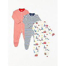 Buy John Lewis Baby London GOTS Organic Cotton Sleepsuit, Pack of 3, Multi Online at johnlewis.com
